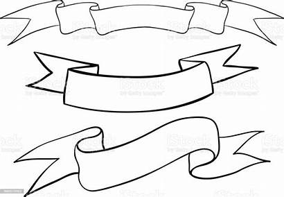 Ribbon Outline Banners Sketch Drawn Hand Banner