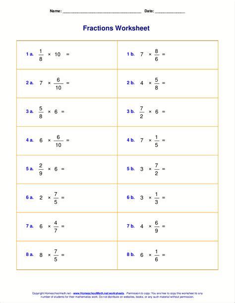 worksheets for fraction multiplication fraction of a