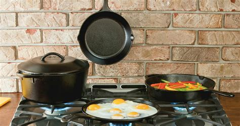 lodge seasoned cast iron  piece cookware set  wheel  deal mama