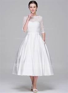 a line princess sweetheart tea length satin wedding dress With tea length sweetheart wedding dresses