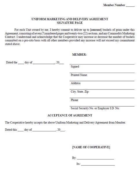 contract signature page template uk sle uniform marketing and delivery agreement ag