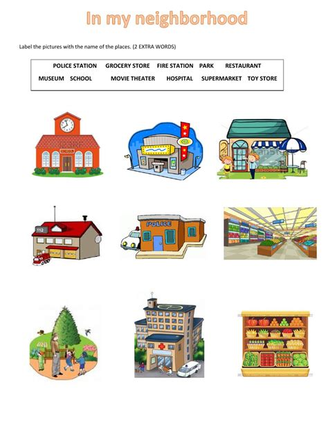 places in the neighborhood worksheet places in my neighborhood interactive worksheet