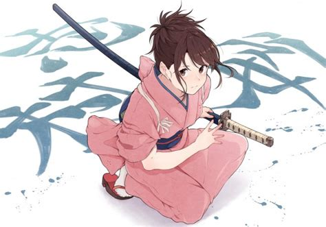 wallpaper gintama shimura tae katana kimono brown hair