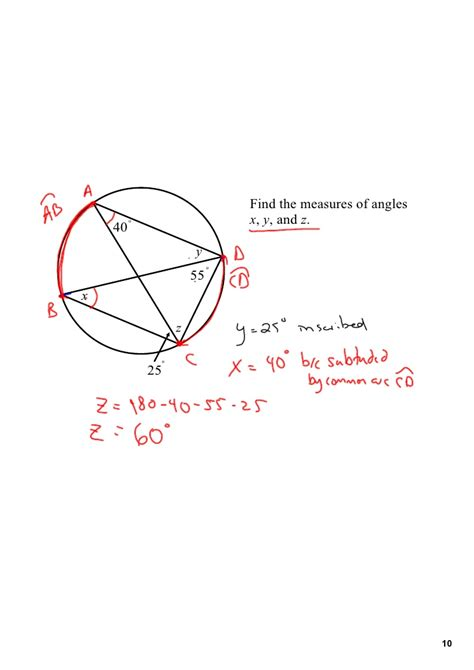 inscribed angles central arc measures same subtended