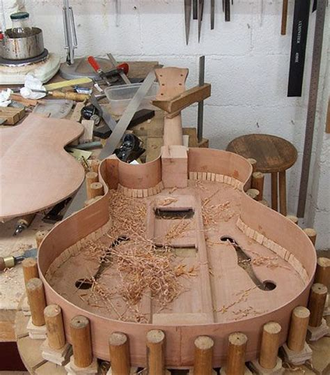 archtop electric  integral braces guitar building
