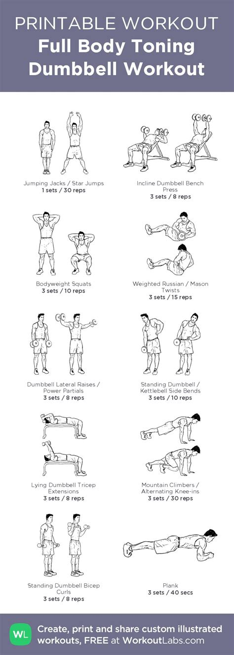 workout dumbbell body workouts beginner toning pdf gym workoutlabs printable routine exercises plan total kettlebell tone exercise training illustrated beginners