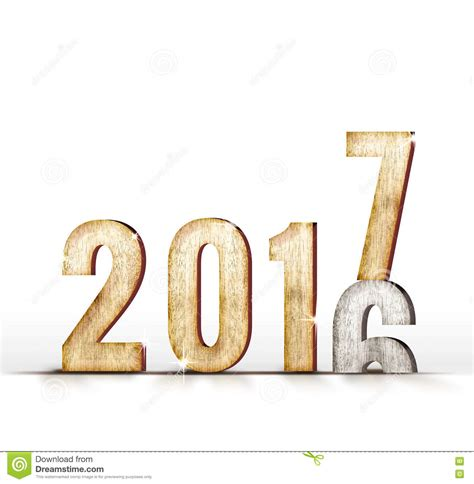 2016 Wood Number Year Change To 2017 Year In White Studio