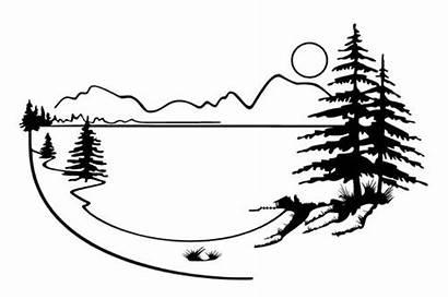 Lake Mountain Scenery Landscape Silhouette Decal Tattoo