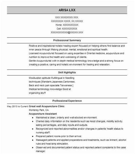 Acupuncturist Resume by Acupuncturist Doctor Of Medicine Resume Exle