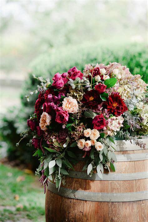 barrel flower arrangements wedding