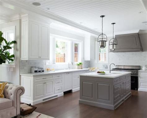 white kitchen with gray island grey island houzz 1835