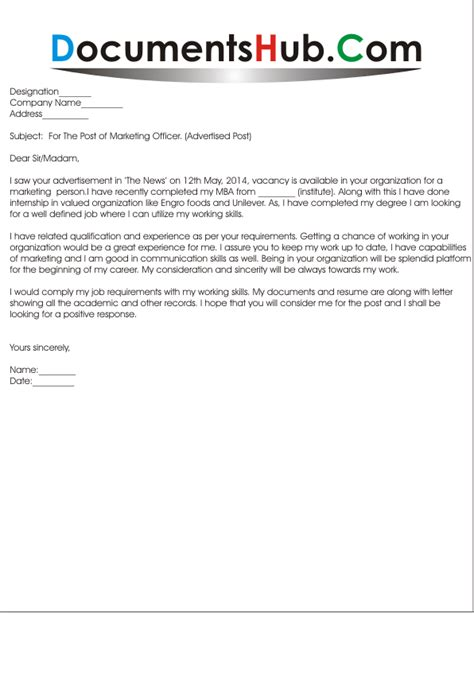Cover Letter For Marketing Executive by Sle Cover Letter For Marketing Documentshub