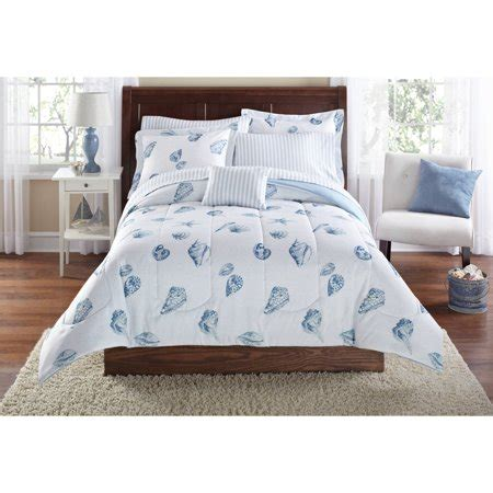 walmart bed comforters mainstays seashell bed in a bag coordinating bedding set