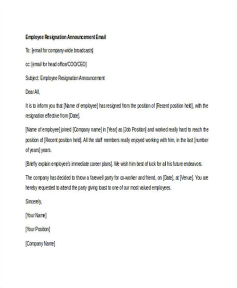 email template to announce your new hire 18 resignation email exles doc