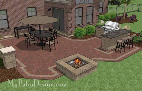 Large Brick Patio Design With Grill Station With Attached