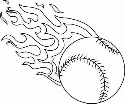 Baseball Coloring Pages Fire Softball Printable Flame
