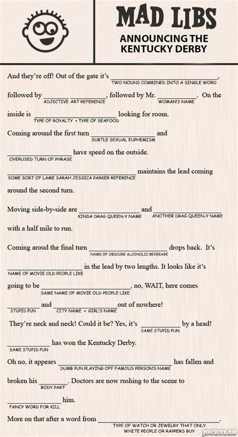 mad libs for the older kids at derby party kentucky derby party derby games kentucky derby