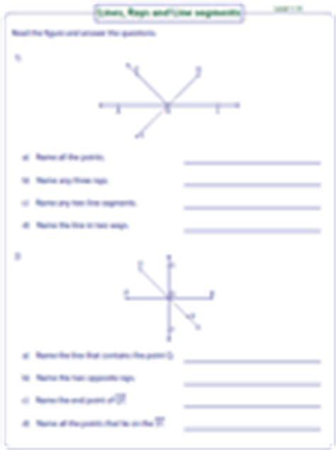 lines rays   segments worksheets