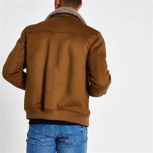 Veste Homme Col Mouton : veste en su dine marron clair avec col en peau de mouton marron homme river island manteaux et ~ Dallasstarsshop.com Idées de Décoration