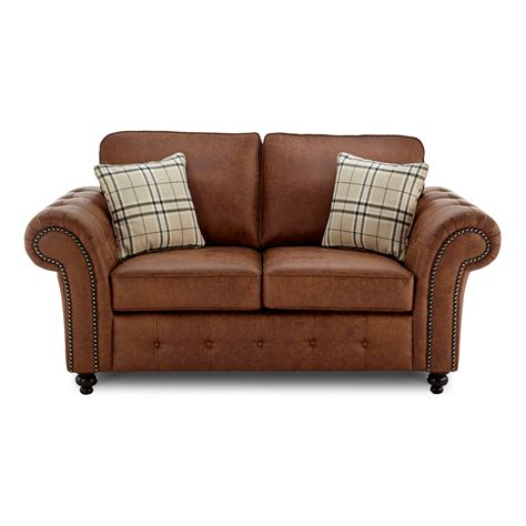 2 Seater Sofa by Oakland Faux Leather 2 Seater Sofa In Brown Just Sleep On It