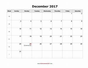 Blank Calendar for December 2017