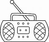 Radio Coloring Clip Clipart Line Sweetclipart sketch template