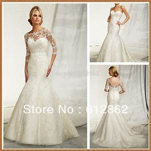 two piece beaded mermaid long tail lace 3 4 sleeve wedding With 3 4 sleeve lace wedding dress