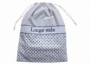 Sac à Linge Sale : grand sac linge sale blanc pois bleu p 39 tits barons ~ Dailycaller-alerts.com Idées de Décoration