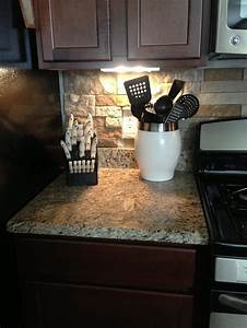 43 best images about kitchen on pinterest kitchen for Stone backsplash ideas with dark cabinets