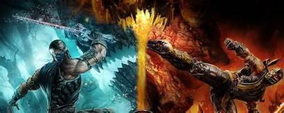 Monitor Dual Background Dragon Fire Resolution Cold