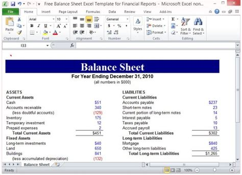 balance sheet excel template  financial reports