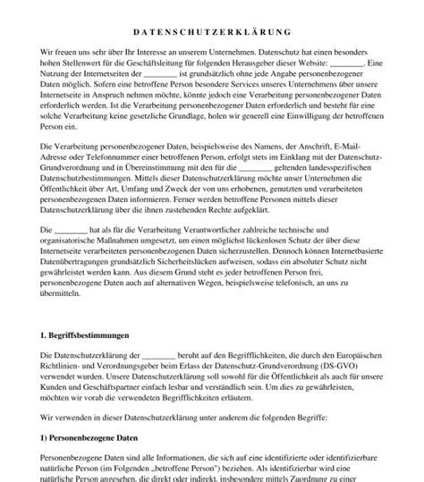 datenschutzerklaerung muster vorlage word und