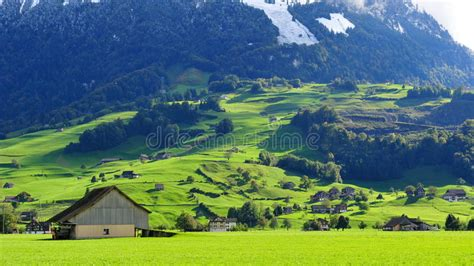 Scenic Mountain Landscape In Swiss Knife Valley Stock