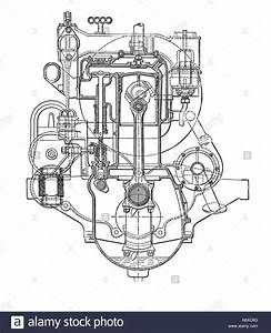 Cross Section Diagram Of Siddeley Four Cylinder Petrol