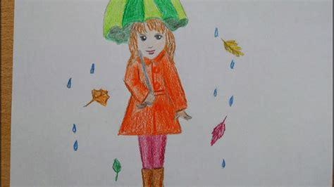 maedchen mit regenschirm malen   draw  girl