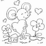 Coloring Valentine Pages Mouse Valentines Card Surfnetkids Printable Mice Colouring Adult Cards Greeting Cheesy Posts sketch template