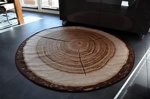 Teppich Rund 200 : design teppich rund holz baumstamm 200cm baumscheibe hr 2 holzmuster teppiche design trend ~ Markanthonyermac.com Haus und Dekorationen