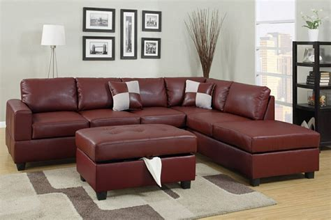 Living Room Ideas With Maroon Carpet by 3pcs Burgundy Leather Sofa Sectional Ottoman Included