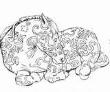Sculpture Coloring Statue Lion sketch template
