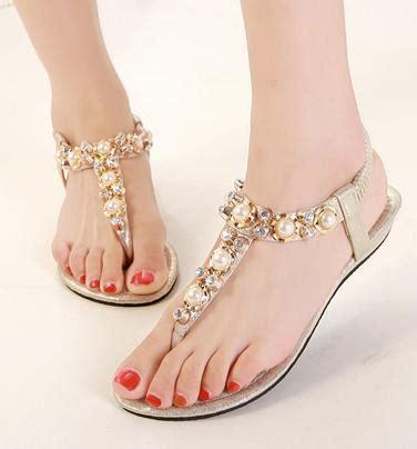 bohemian rhinestone sandals pearl crystal beaded sandals