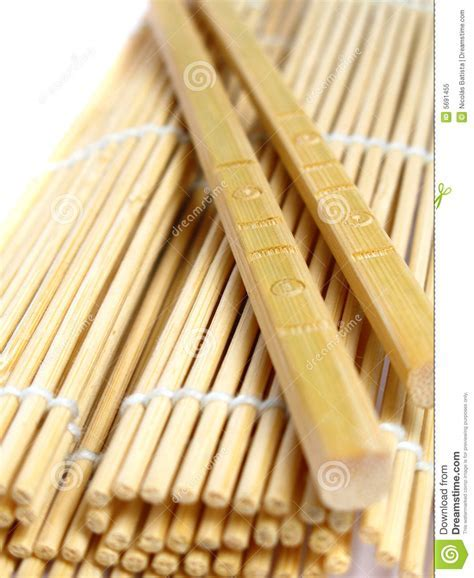 Chopsticks And Bamboo Mat Royalty Free Stock Photo   Image