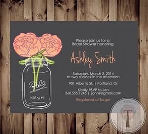 mason jar invitation bridal shower invitation by t3designsco With mason jar wedding shower invitations
