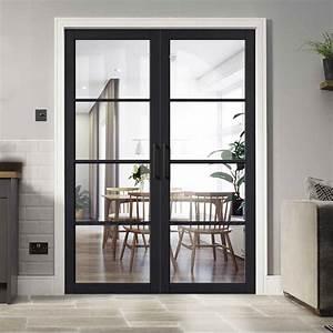 Soho, 4, Pane, Charcoal, Door, Pair, -, Clear, Glass