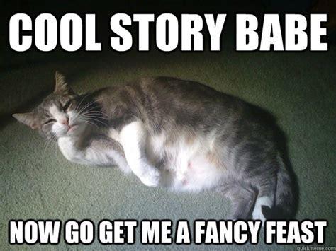 Fancy Cat Meme - cool story babe now go get me a fancy feast cool cat feast quickmeme