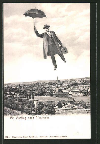 Ak Pforzheim, Fliegende Menschen, Mann Fliegt Mit