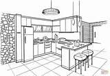 Cocina Colorare Minimalista Croquis Architecte Supercoloring Diseno Agencement Ius sketch template