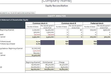equity reconciliation report  excel templates