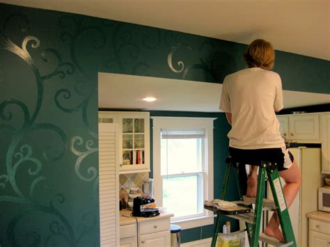 accent wall ideas for kitchen budget kitchen updates accent wall and faux painted