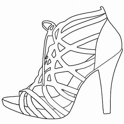 Heel Drawing Sandals Template Heels Shoe Sandal