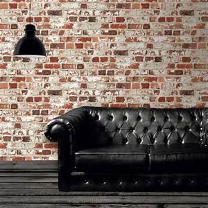 Mur Effet Brique : papier peint loft brique castorama cuisine deco salon chesterfield sofa et home decor ~ Melissatoandfro.com Idées de Décoration